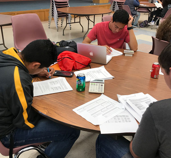 Working to win--Accounting team members junior Chris Lopez Delgado, senior Antonio Arreola Lechuga and junior Landry Ritchey study before the UIL accounting test at district in Denver City on March 21. The team took first overall.