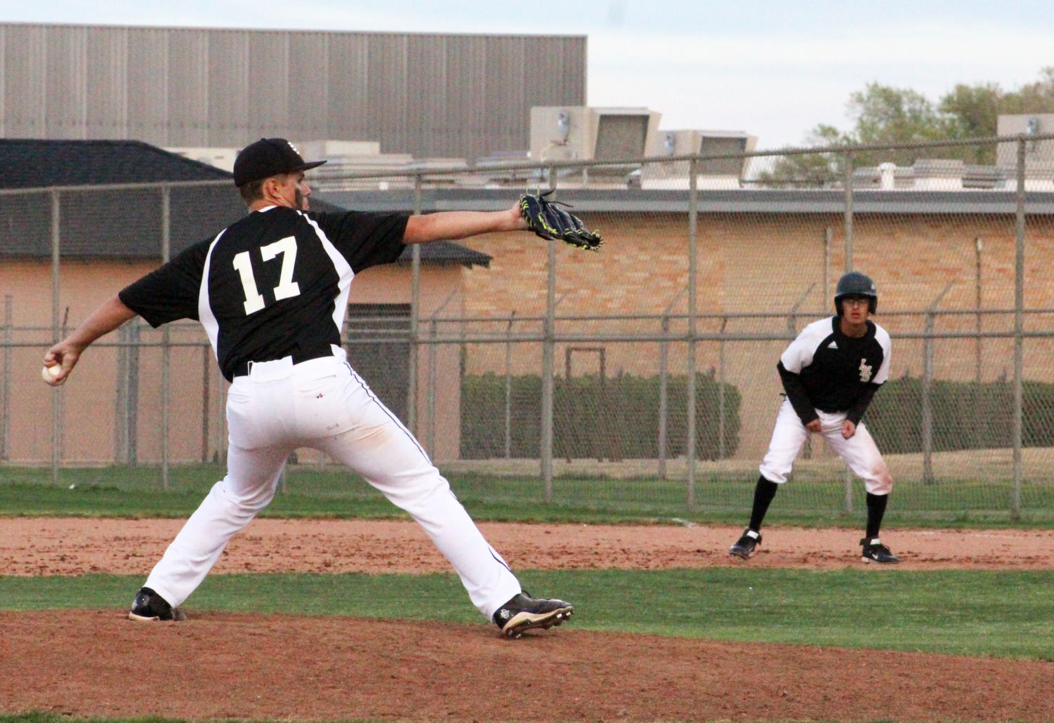 On the mound--Junior Alex Harms pitches during district play against Lamesa on March 29. The Indians fell to the Tornadoes, 8-1.