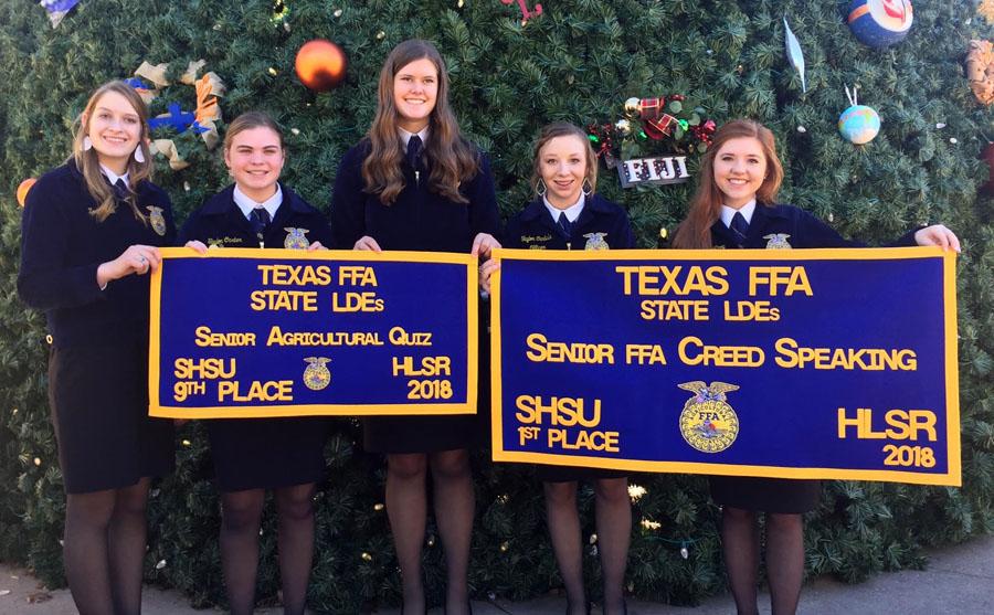 State FFA winners-- Freshman Zoee Nolen, sophomore Taylor Carter, sophomore Delaney Brown, junior Taylor Carlisle, senior Carlye Winfrey