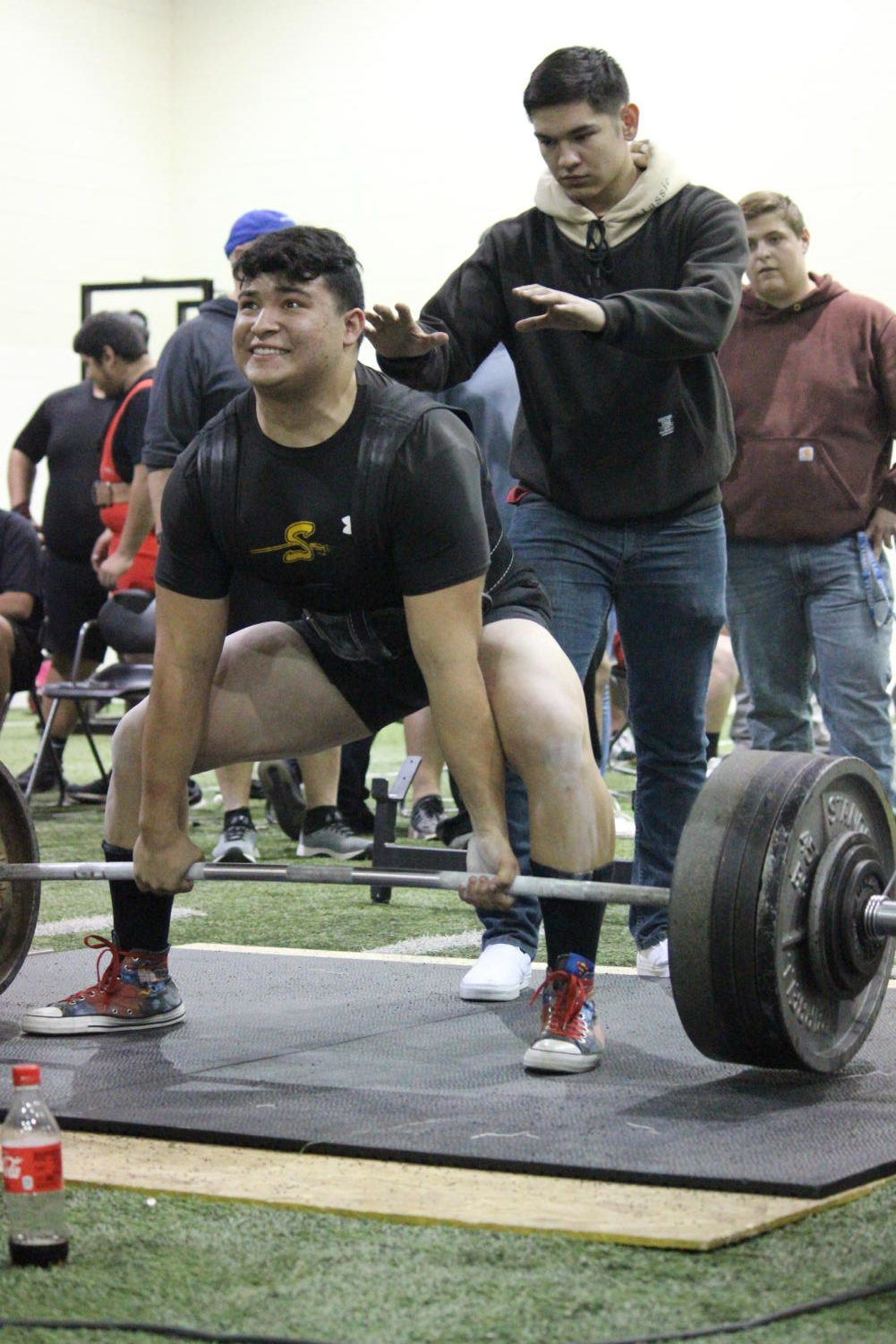 Breaking records-- Senior Ian Alvidrez lifts 1,560 pounds at the Seminole meet on Jan. 24. Alvidrez has broken the region record twice since January.