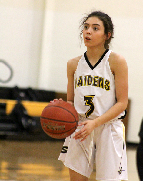 Taking aim-- Freshman Jasmine Valdez concentrates on her free throw during district action on Feb. 5. The Maidens finished the season 16-7 after the win over Andrews.