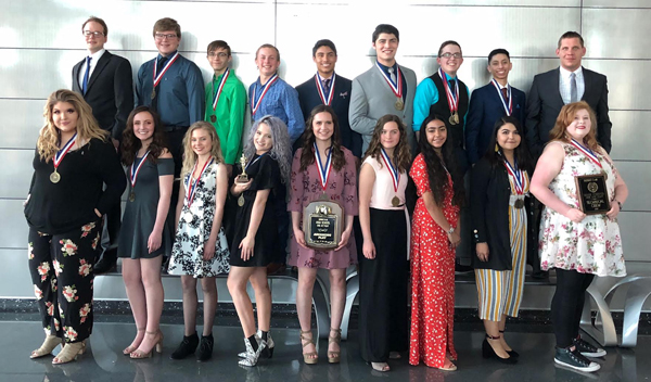District winners-- (Back) Director Reed Chappell, Zachary Fehr, Zachery Green, Jake Emig, Bryce Lopez, Dillon Gutierrez, Nathan Gates, Kevin Gasca, Director Josh Singlieton, (front) Reese Cooper, Cathryn Johnson, Taylor Whittenrich, Phiona Hiebert, Grace Emig, Briana Froese, Arleen Nava, Abigail Avitia Lopez, Tricia Bush