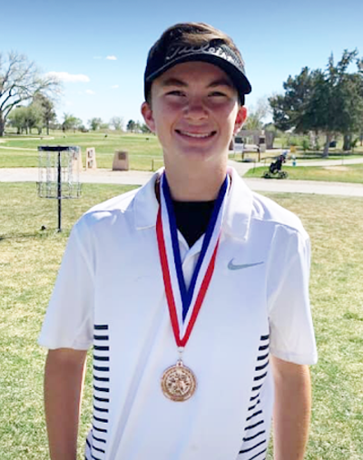 Region bound-- Freshman Cason Johnson shot a combined 151 strokes over two rounds to take third in district and advance to regionals in golf on April 8.