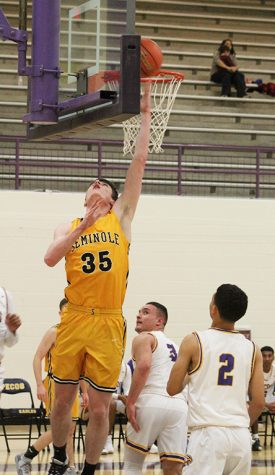 District opener-- With 19 points, junior post Blake Hamblin led the Indians in the first district game in Pecos on Jan. 21. The Indians dominated the Eagles, 86-26.