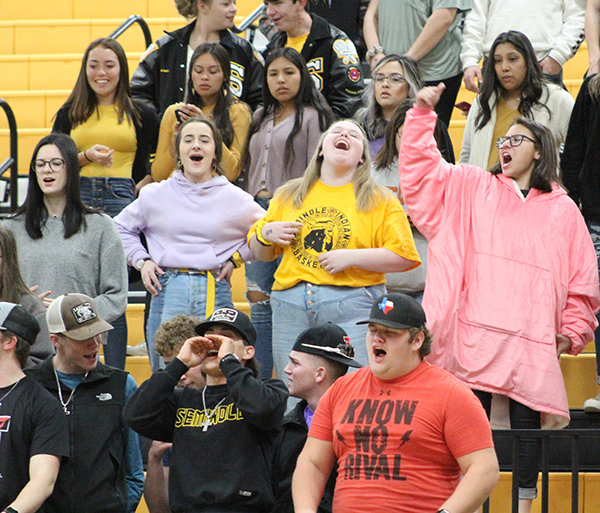 Scream for the team--The crowd celebrates one of the Indian scores during district play against Monahans on Jan. 28.