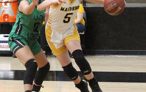 District MVP-- Sophomore guard Xoe Rosalez drives the baseline during district play hosting Monahans on Jan. 28. Rosalez was selected as District 2-4A's most valuable player by the district coaches.