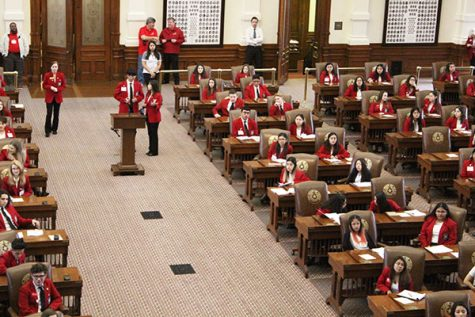 Seats of power--SkillsUSA members from across the state sit in the House of Representatives seats at the Texas state capitol on Feb. 10.