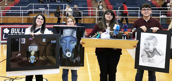 Statebound artists-- Junior Sydney Gonzales with her digital drawing 1-8--THE-LOST, sophomore Sandra Hernandez Tarango with her painting Limbo's Dose, junior Raven Parker with her sculpture Family by Choice and freshman Kevin Ronquillo with his drawing Mono Miracle all qualified for state VASE in April.