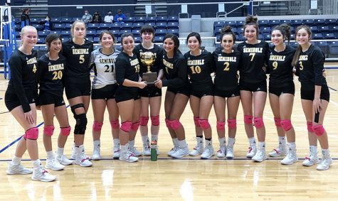 Bi-district champs Junior Avery Moore, sophomore Laila Gutierrez, junior Zoee Nolen, junior Emily Alvarez, senior Alyssa Olivas, senior Robin Franklin, senior Kamryn Cottrell, junior Desiree Alvidrez, junior Brooklyn Bates, junior Aerianna Langley, junior Xyla Madry, sophomore Audri Garcia