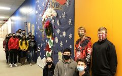 Winners-- Jody Steele's accounting class wins the door decorating contest. (Left) Steele, Anthony Tran, Emelio Aguilar, Preston Stevenson, Jathon Hardman, Blayze Bandy, Isaac Castaneda, Ailee Sanchez, Karyme Ortiz, (right) Clayton Lee, Dillon Fehr, Aganetha Wall, Carlos Tesillo, Jordan Neufeld