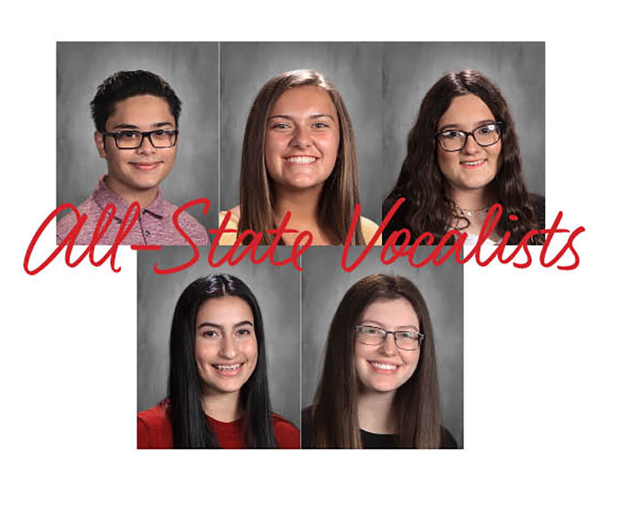 All-state choir members-- (Top) senior Moises Ybaben Burciaga, freshman Angie Klassen Enns, freshman Aubrey Brown, (bottom) junior Liz Pinon and senior Jacqueline Peters