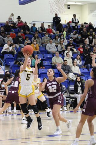 To the hoop--Junior guard Xoe Rosalez takes the ball baseline to score in the second quarter of the region quarterfinal versus Hereford on Feb. 19. Rosalez finished the game with 17 points.