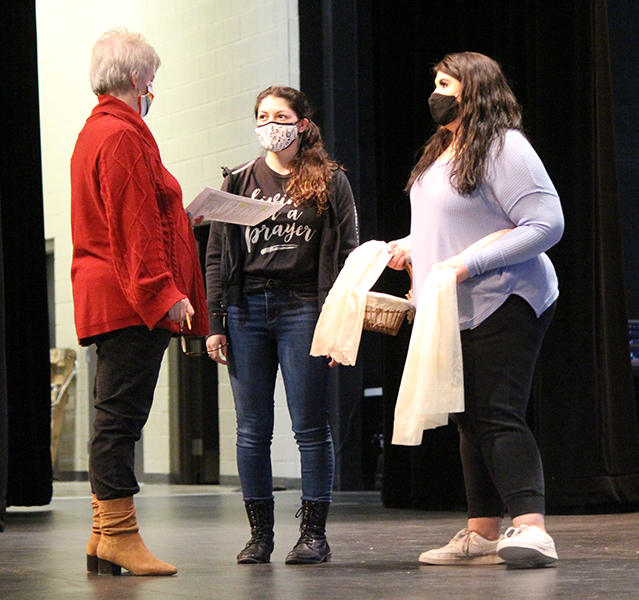 Blocking the scene-- Director Vonya Eudy works with seniors Samantha Gutierrez and Reese Cooper on a scene from the Spanish one-act play Yerma during fourth period on Jan. 21. Cooper portrays the title character, while Gutierrez has a dual role of a girl and a laundress in the play.