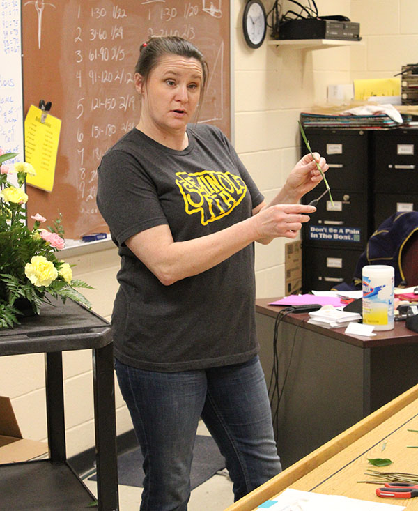 It's like this-- Floral design instructor Misty Day explains procedure to her second period floral design class in February. The majority of the class would test for both levels virtually.