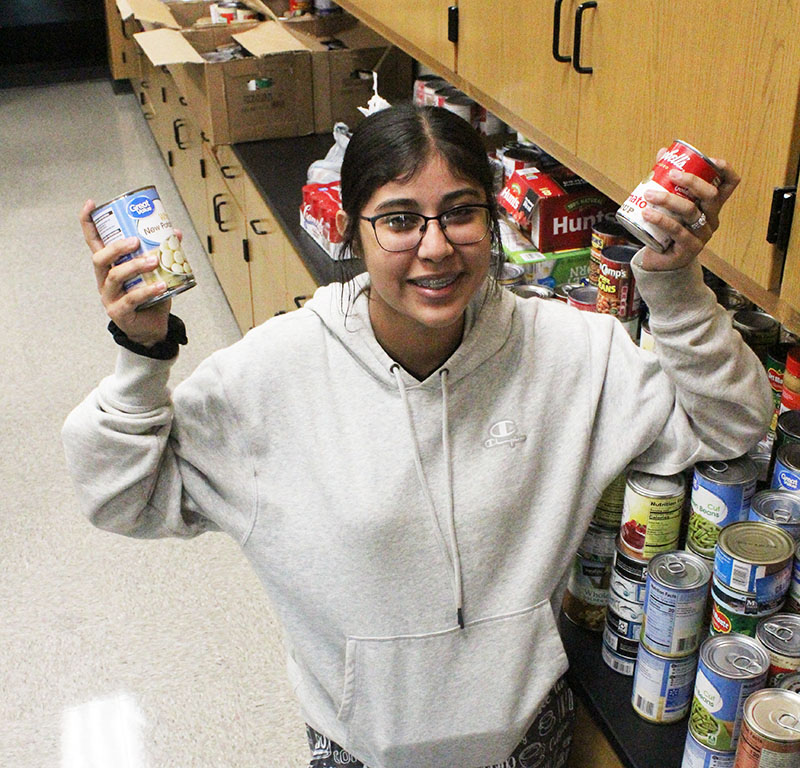 Solitary winner--Senior Yasmin Saenz won the canned food drive as an individual with 1,149 cans. Saenz is a class of only one person.