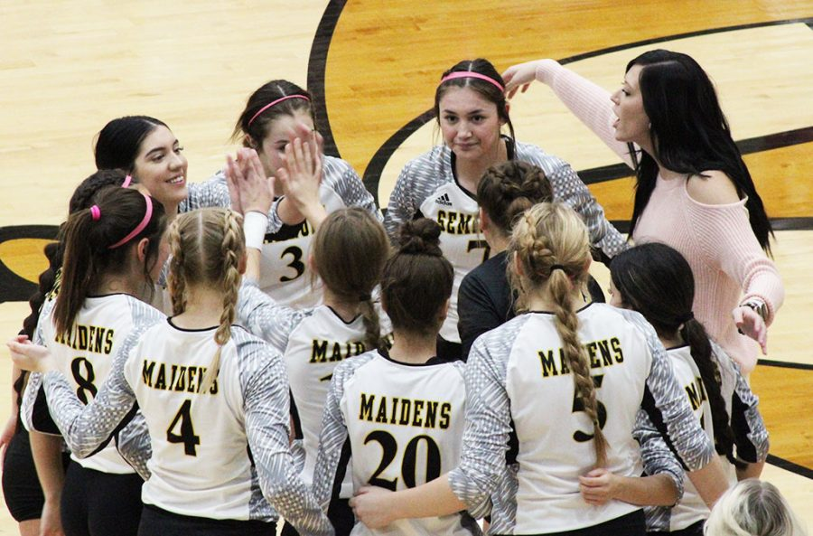 Words of encouragement--Coach Bailey McFerren revs up her team during district play with Greenwood on Oct. 9. The Maidens took down the No. 22 team in the state in three sets.